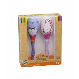 Maraca Set - Pink Mouse & Cat