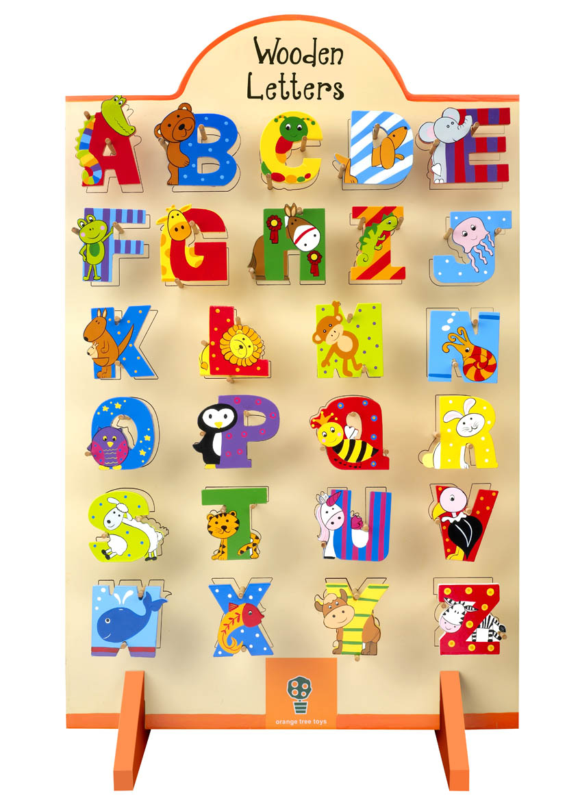 ChildrenS Wooden Alphabet Letters  Orange Tree Toys